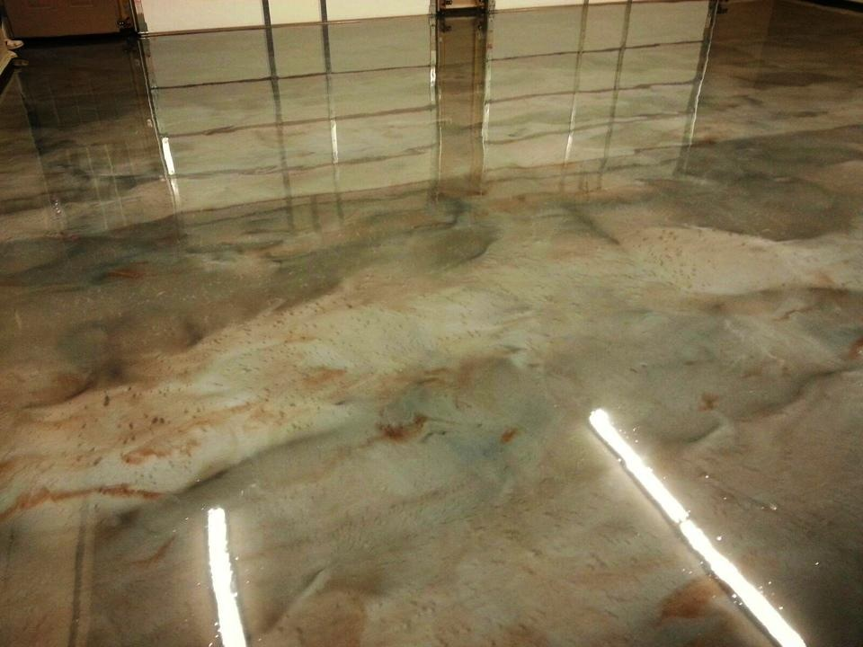 Metallic epoxy floor dukes surface solutions nevada for What to use to clean stained concrete floors